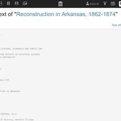 RECONSTRUCTION IN ARKANSAS 1862-1874 by THOMAS S. STAPLES, Ph.D.